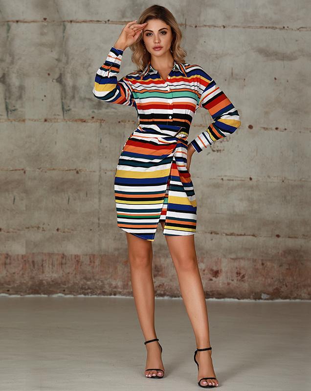 女装连衣裙厂家彩色条纹衬衫绑带连衣裙