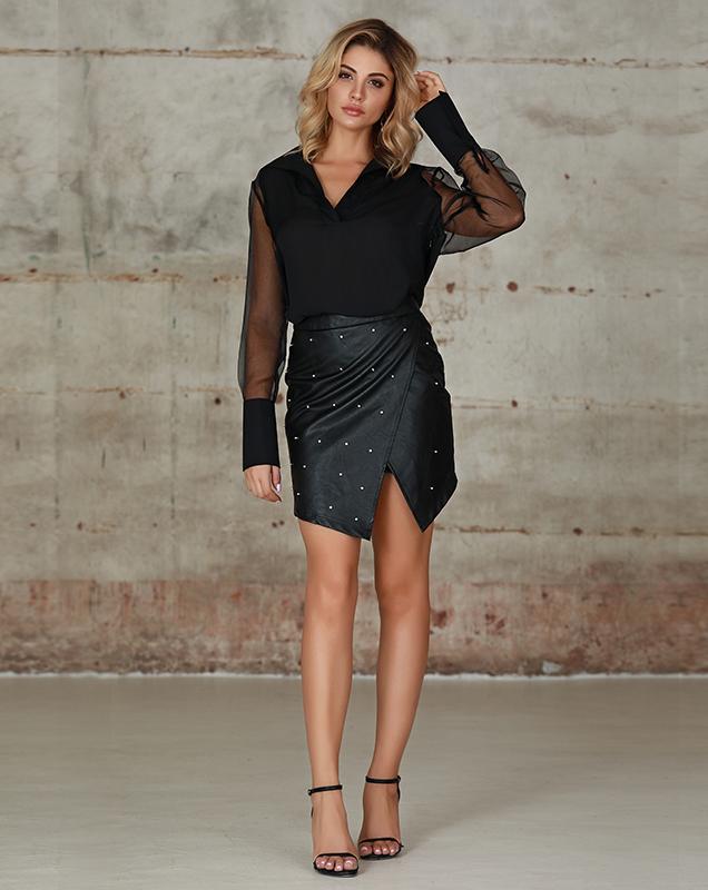 欧美性感女装衬衫服装厂家黑色欧根纱拼接衬衫上衣