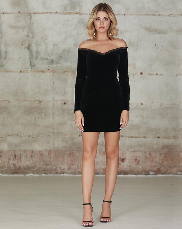 小性感紧身连衣裙女装定制厂家黑色大V领长袖短裙