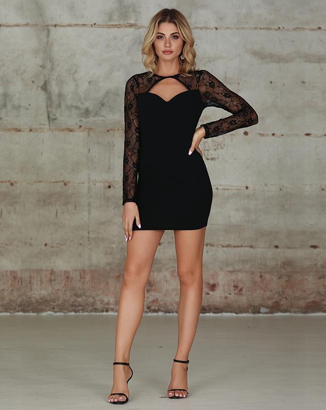 蕾丝拼接短款连衣裙欧美长袖蕾丝连衣裙加工定制