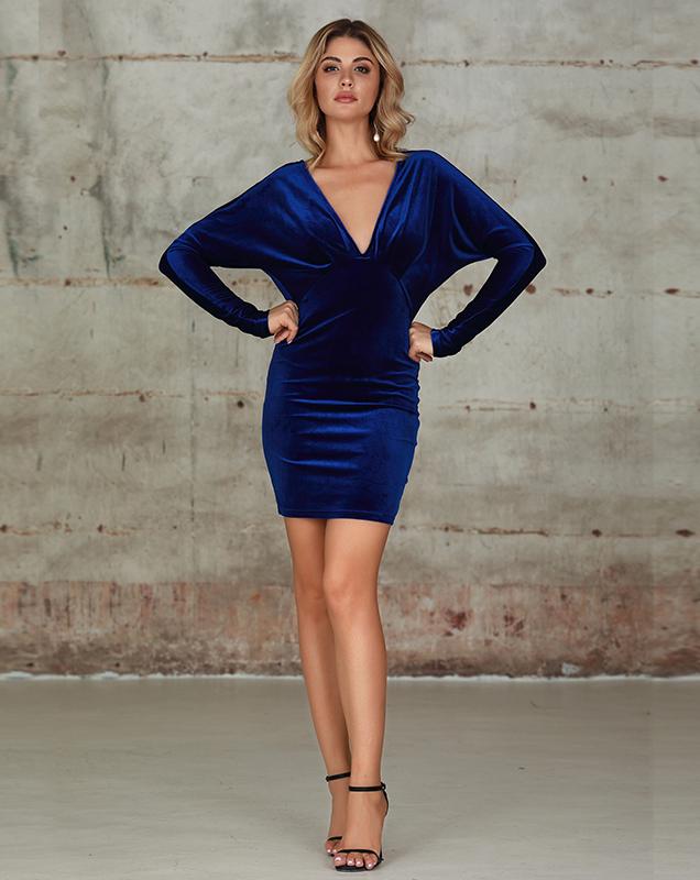 外贸连衣裙厂家加工 蓝色V领紧身连衣裙