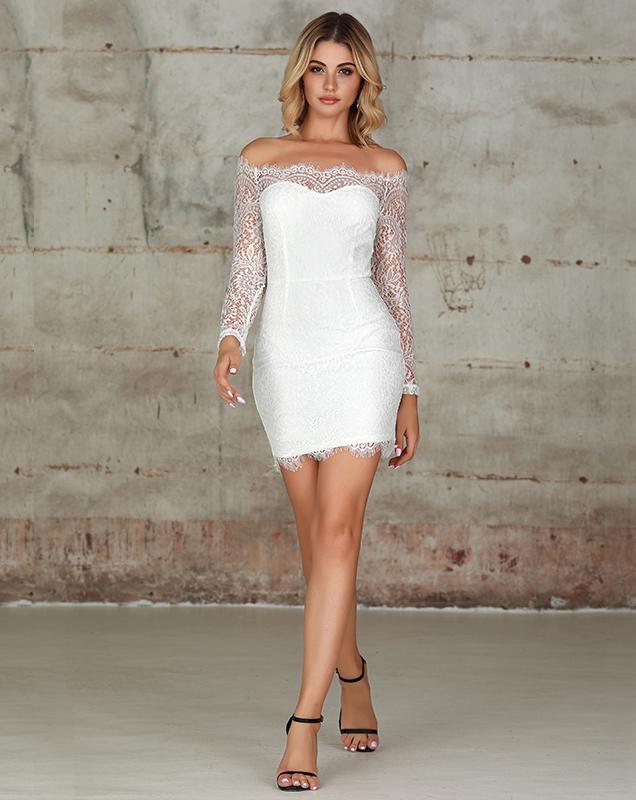 蕾丝女装定制厂家一字肩蕾丝透视拼接连衣裙厂家
