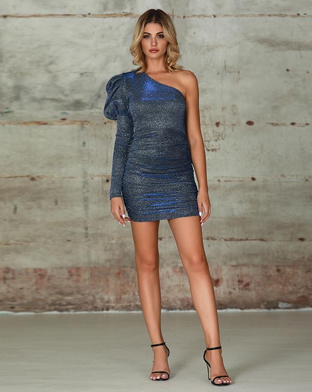 欧美丝光女装服装厂斜肩泡泡袖短款连衣裙