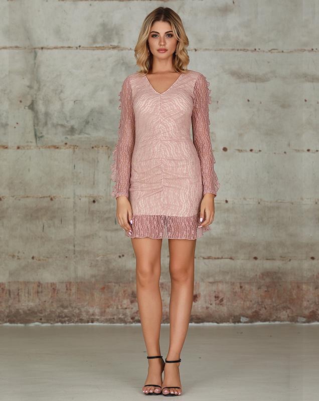 蕾丝连衣裙女装厂家粉色拼接蕾丝V领荷叶边连衣裙