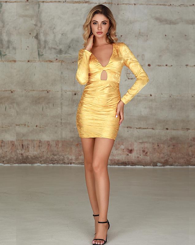 外贸服装厂家V领镂空连衣裙欧美暗纹绸缎紧身连衣裙