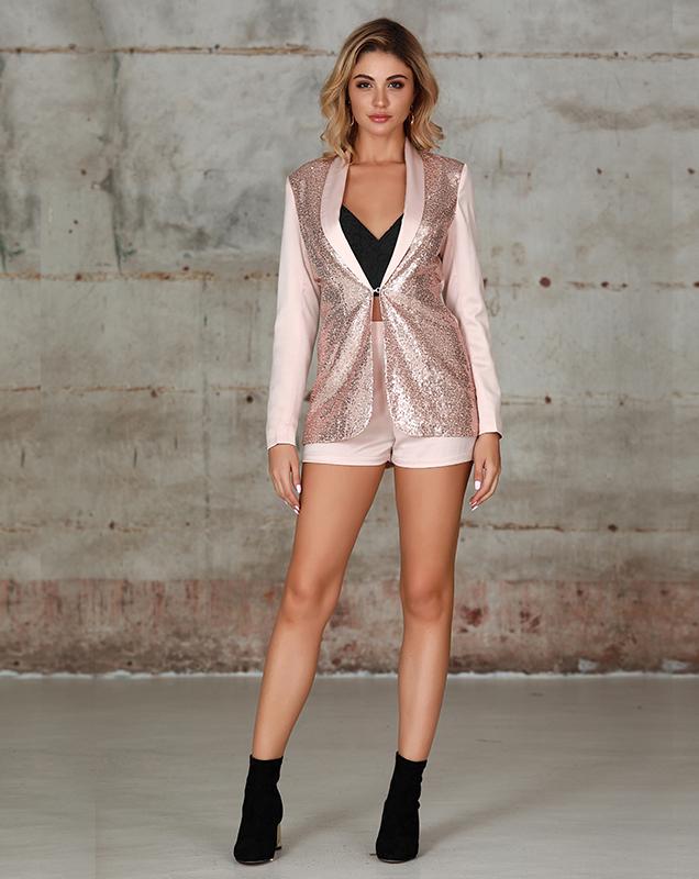 西装外套女装贴牌制衣厂亮片拼接西装短裤套装
