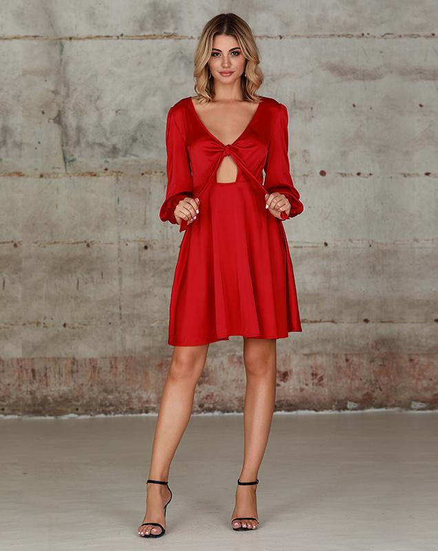 外贸女装厂家纯红色连衣裙V领镂空连衣裙