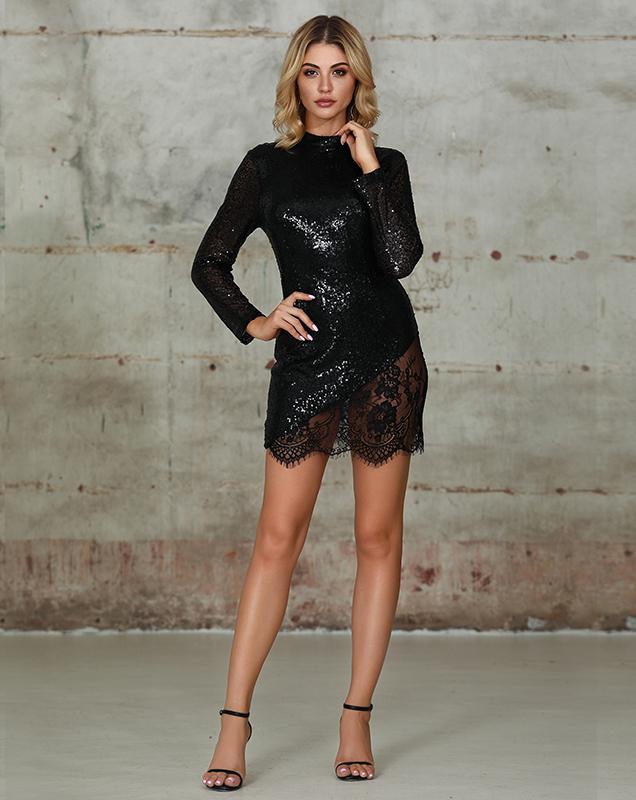 蕾丝连衣裙礼服外贸加工厂亮片蕾丝拼接中短裙