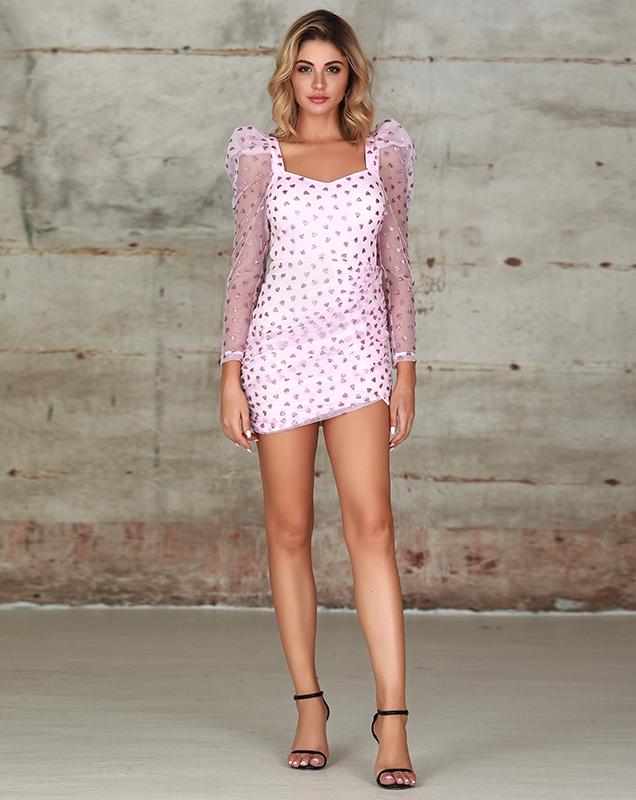 欧美女装连衣裙加工厂家粉色雪纺亮片紧身连衣裙