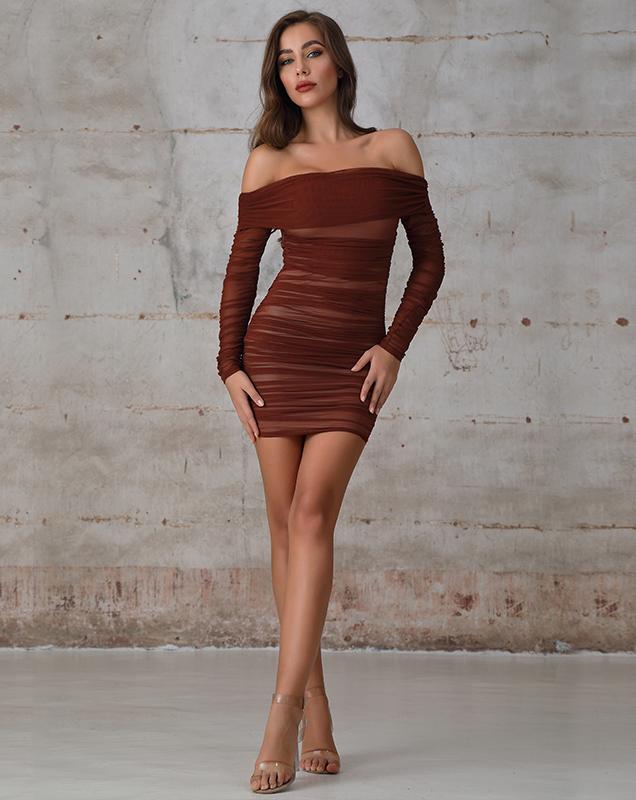 性感轻礼服代加工一字肩紧身褶皱连衣裙