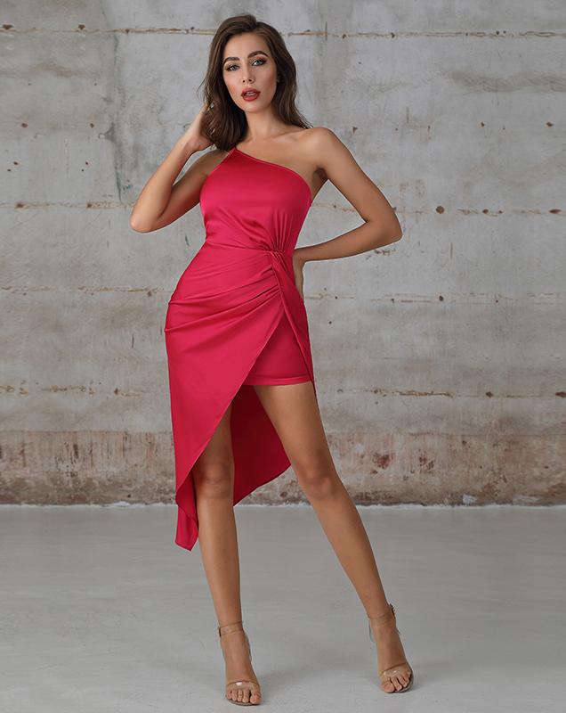 欧美外贸服装加工厂贴牌不规则斜肩玫红色连衣裙