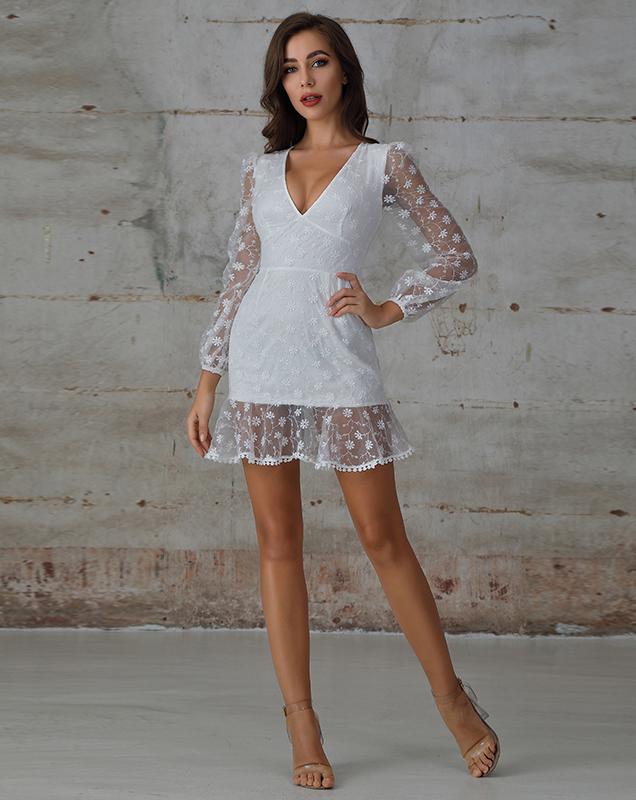 外贸定制女装厂家白色V领荷叶边蕾丝连衣裙