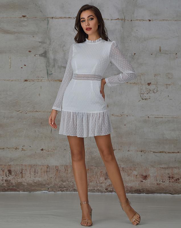 快时尚欧美女装厂家 波点雪纺荷叶边连衣裙