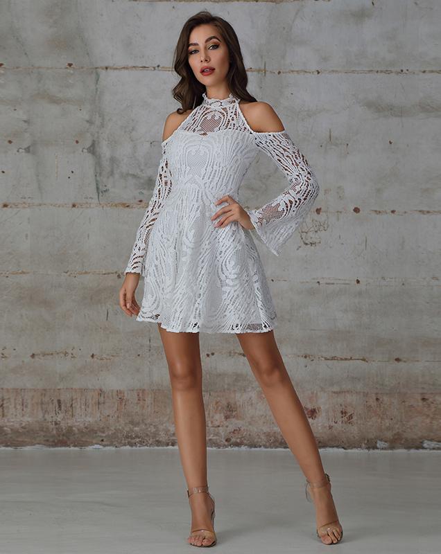 欧美贴牌外贸女装蕾丝露肩喇叭袖连衣裙