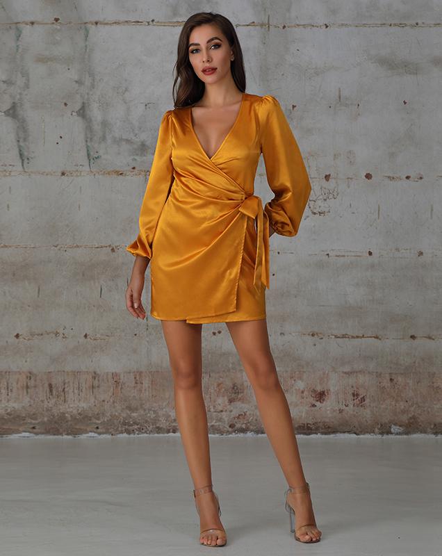 跨境厂家生产女装加工V领纯色茶歇连衣裙