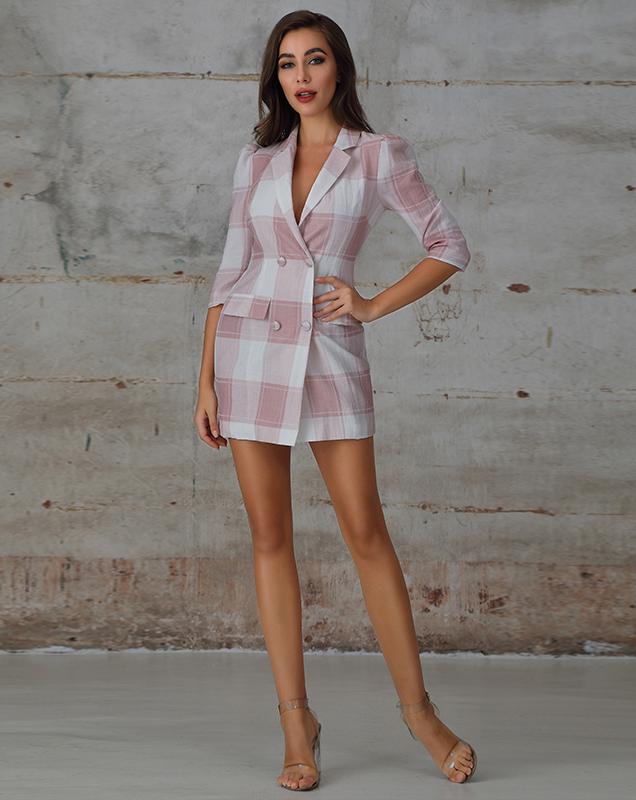 外贸女装外套连衣裙粉白格纹西装连衣裙