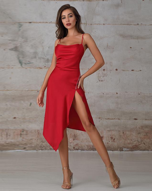 外贸定制贴牌女装吊带不规则开叉连衣裙