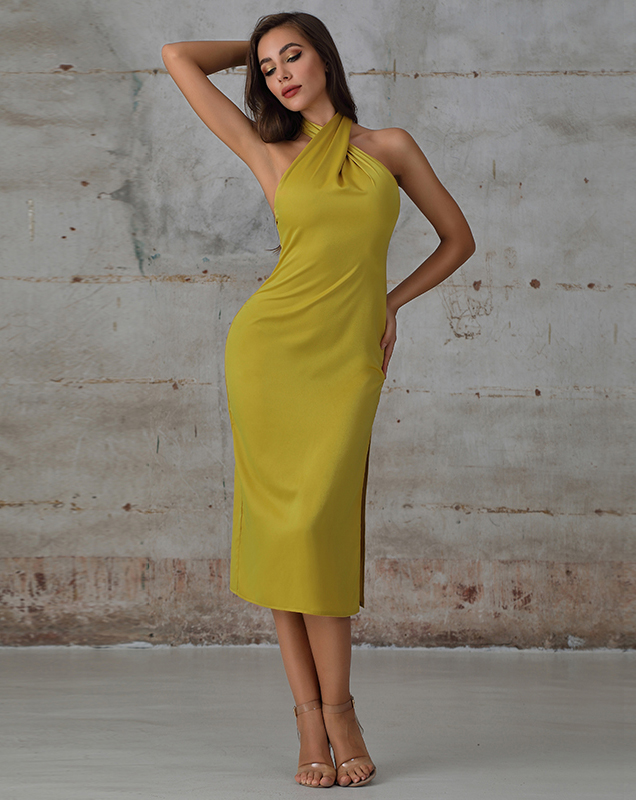 欧美贴牌女装厂家挂脖式黄色中长款连衣裙