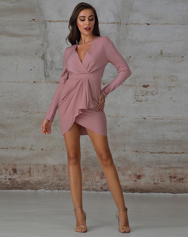 广州女装贴牌厂家粉色V领不规则连衣裙