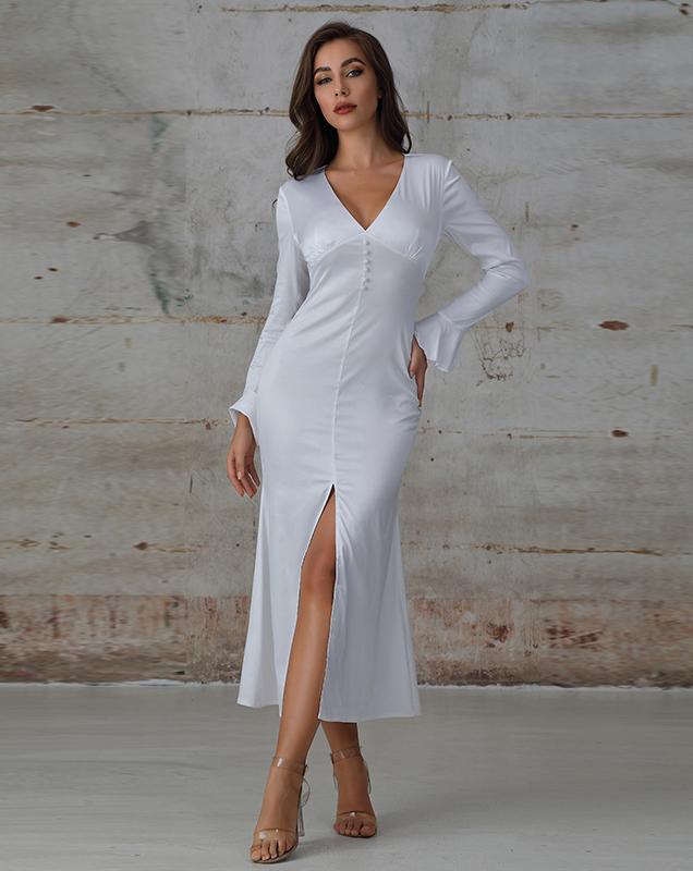 外贸长款女装贴牌厂家绸缎V领荷叶袖连衣裙