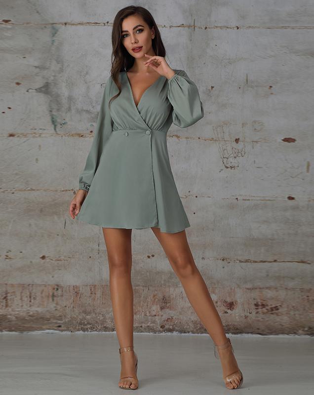 女装制衣厂家贴牌灰绿色V领桔梗连衣裙