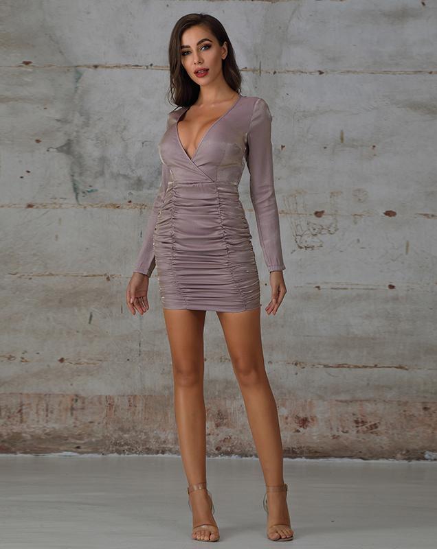外贸供应厂家欧美女装V领香芋紫连衣裙