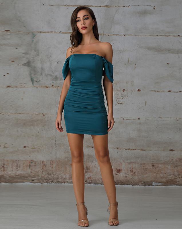 欧美快时尚女装厂家定制性感 露肩一字肩短款连衣裙