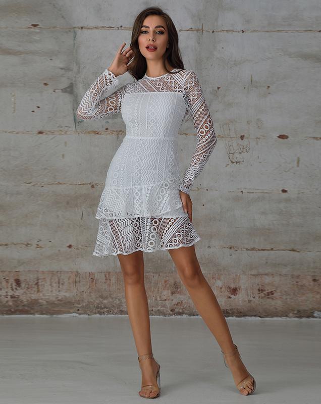 欧美女装供应商贴牌加工定制圆领蕾丝连衣裙