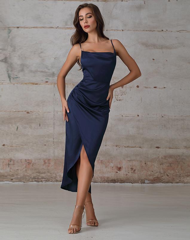 贴牌外贸女装吊带开叉不规则性感连衣裙