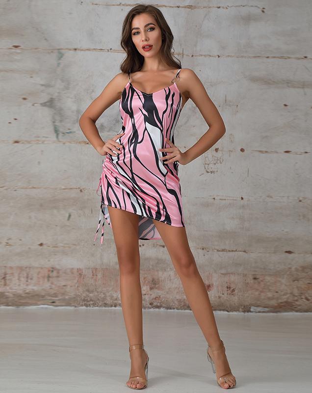 外贸女装定制厂吊带印花连衣裙短款不规则连衣裙