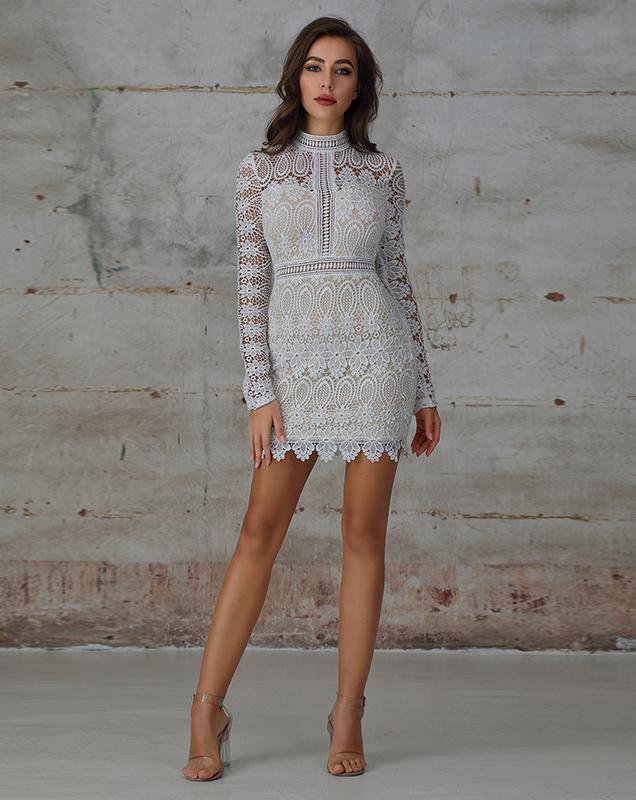欧美外贸连衣裙贴牌高领蕾丝修身连衣裙
