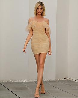 时装品牌加工厂外贸厂家蕾丝一字肩荷叶边连衣裙