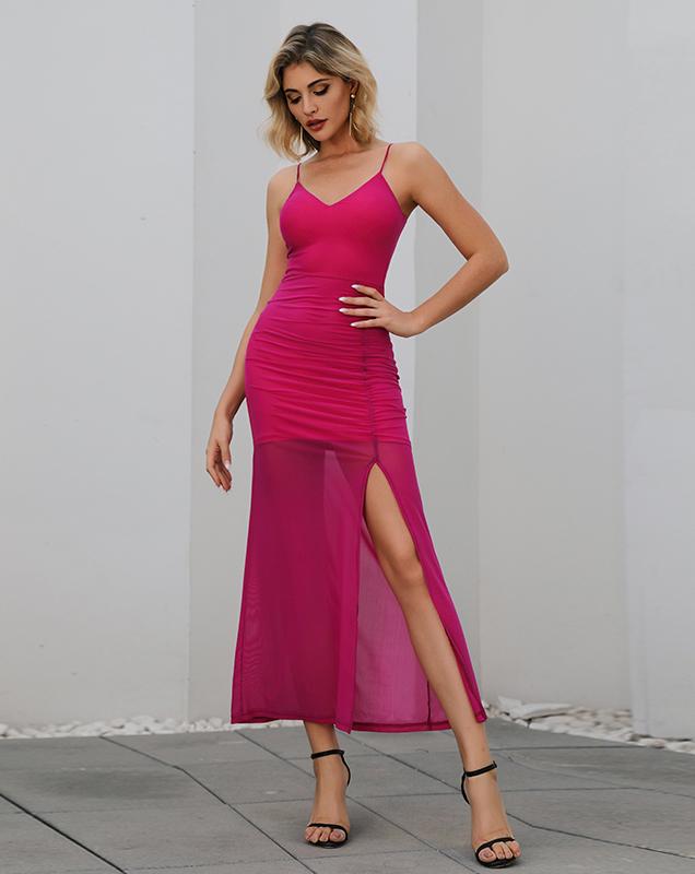 外贸欧美女装厂家贴牌吊带开叉长款连衣裙