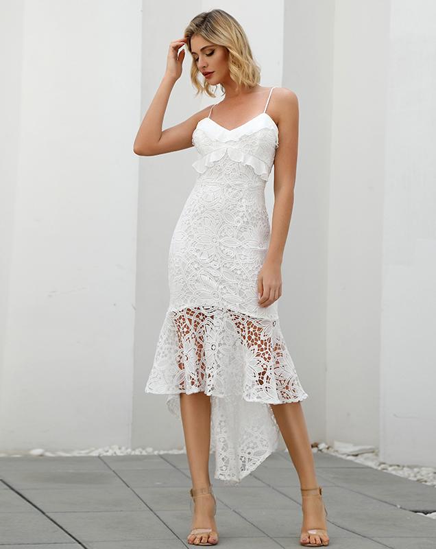 广州女装厂家吊带蕾丝连衣裙贴牌鱼尾蕾丝裙