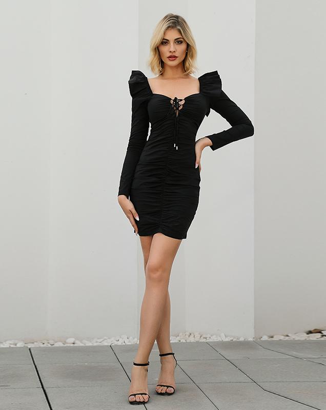 欧美外贸女装厂定制黑色方领绑带连衣裙