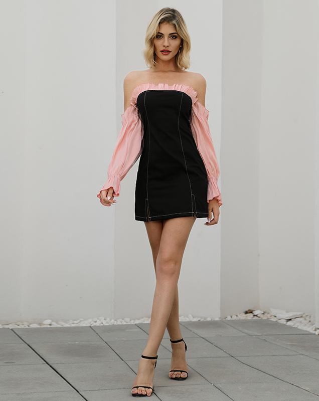 欧美女装外贸厂家贴牌一字肩拼接连衣裙