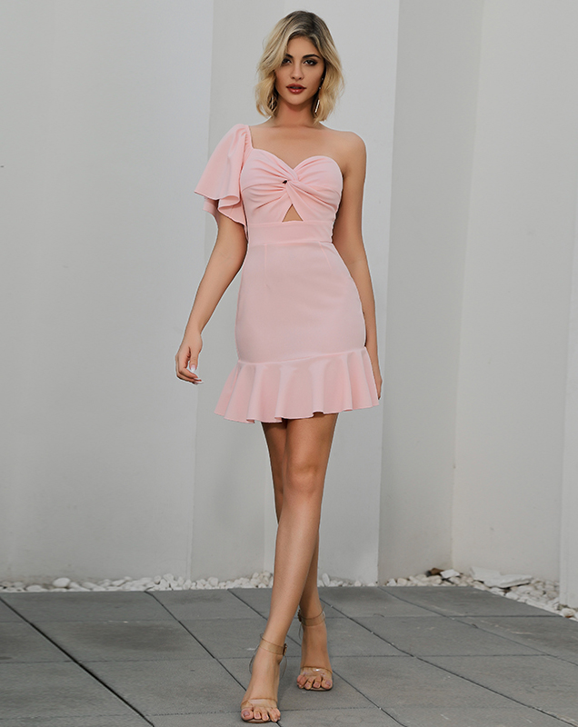 跨境2020欧美新款荷叶边连衣裙斜肩抹胸镂空连衣裙