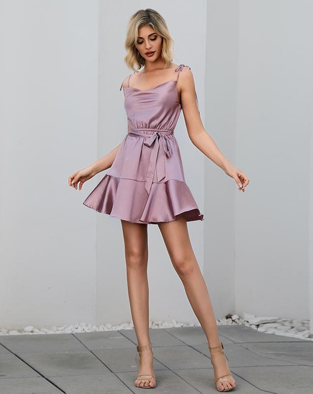 女装厂家欧美吊带性感绑带荷叶边连衣裙