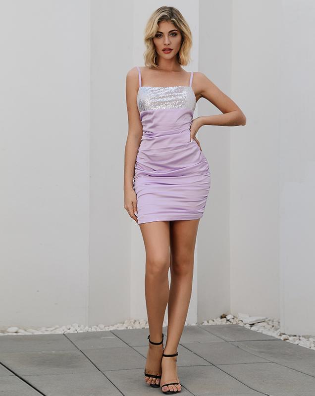 欧美女装连衣裙贴牌厂家定制吊带亮片拼接连衣裙