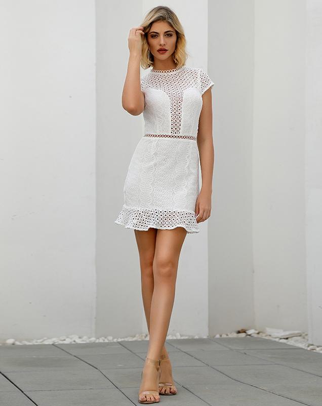 欧美女装加工厂家纯色荷叶边蕾丝连衣裙