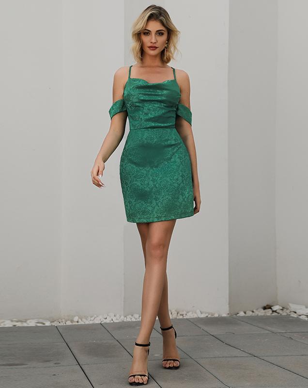 欧美快时尚女装贴牌露肩暗纹吊带连衣裙