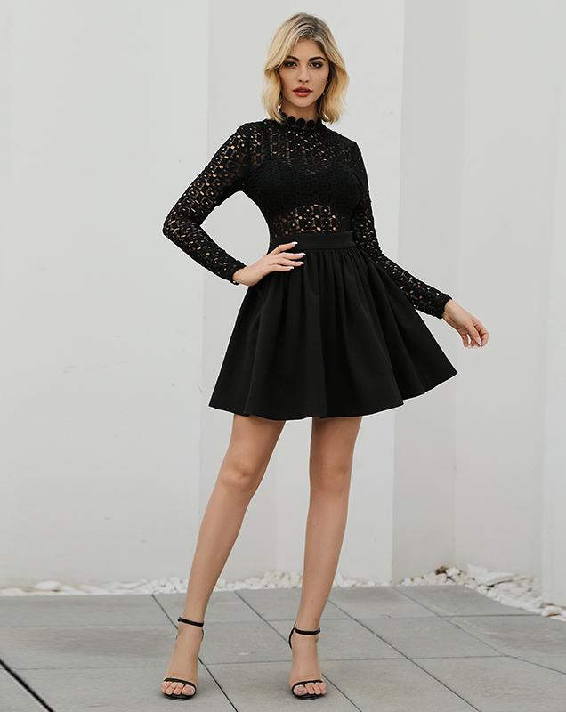 欧美时尚女装OEM2020新款长袖蕾丝透视连衣裙