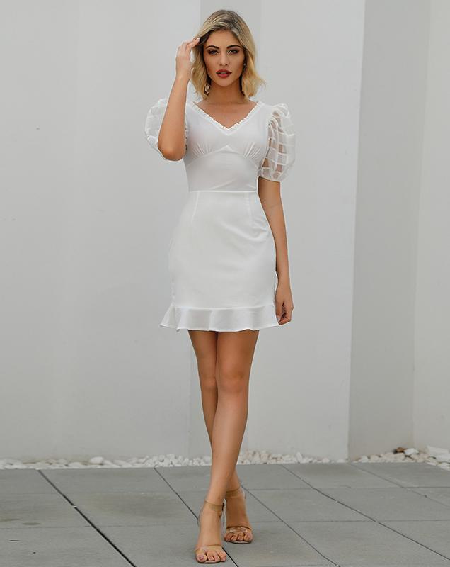 广州女装贴牌代工荷叶边拼接泡泡袖外贸连衣裙