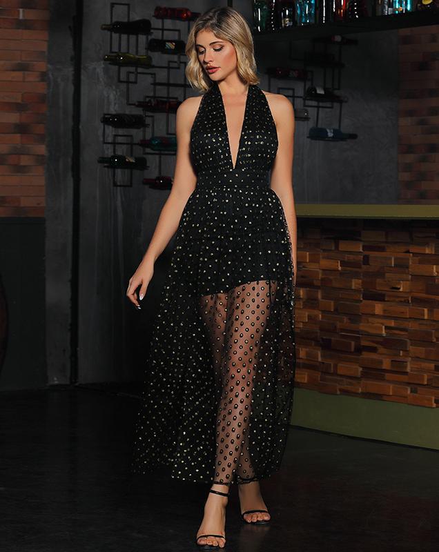 女装厂家收腰赫本风小黑裙气质纺纱亮片连衣裙