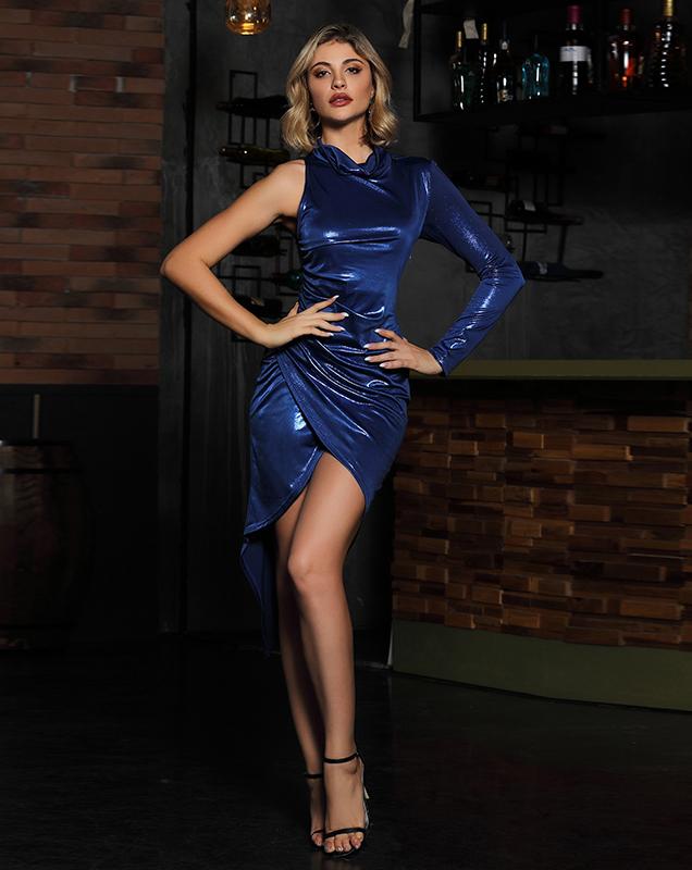 欧美女装贴牌轻礼服 跨境女装外贸不规则连衣裙