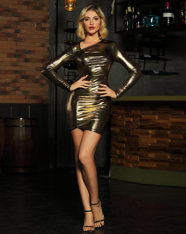 服装厂性感礼服贴牌跨境欧美紧身漆皮连衣裙