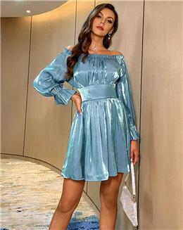 快时尚定制欧美女装制衣厂褶皱一字肩连衣裙跨境女装贴牌源头厂家