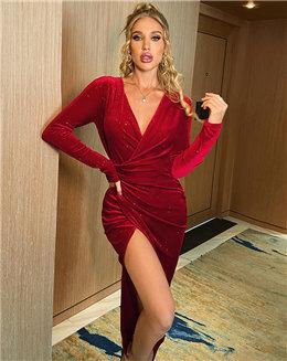 2020秋冬女加工定制性感V领长袖褶皱收腰开叉金丝绒V领连衣裙