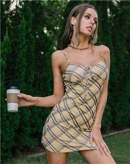 新款欧美连衣裙吊带连衣裙速性感格纹绑带修身包臀连衣裙